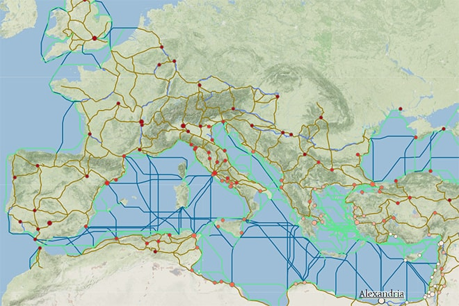 Portal da Universidade de Stanford permite conhecer complexas redes de transporte do território que alcançou três continentes e simular como seriam as viagens